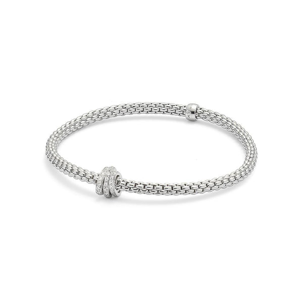 FOPE 18ct White Gold Flex'It Bracelet with Rondels 744B