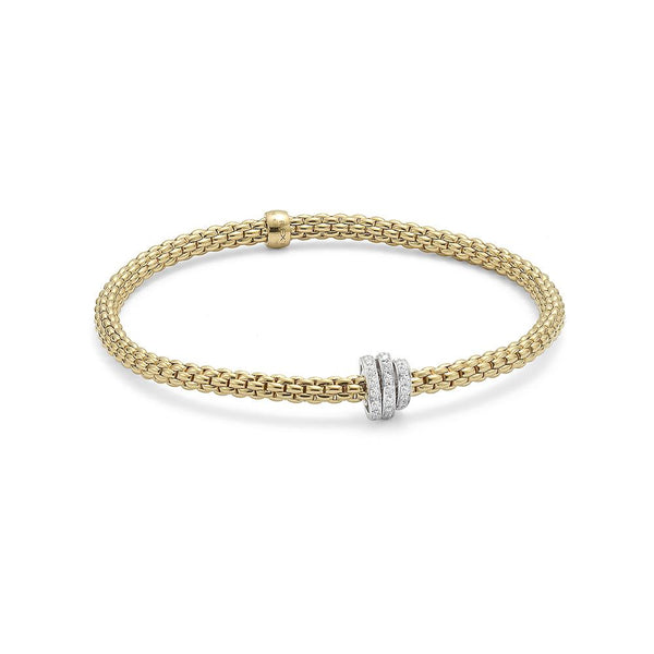 FOPE 18ct Gold Flex'It Bracelet with White Gold and Diamond Rondels 744B