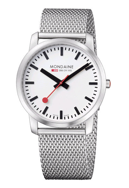 Mondaine A638.30350.16SBM Elegant 41mm white dial watch -  - 1