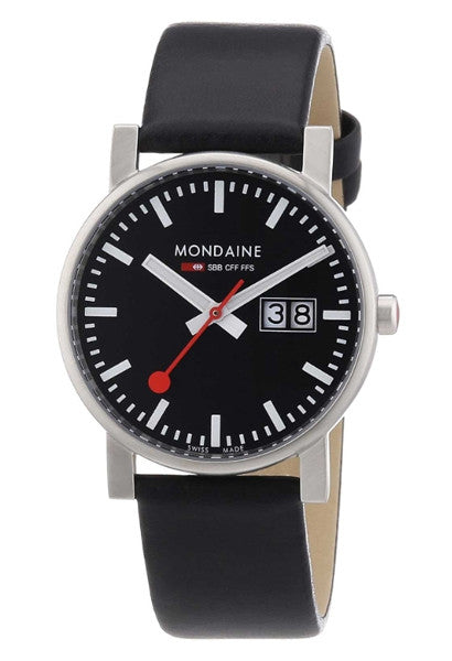 Mondaine A669.30300.14SBB Evolution : black dial 35mm mens watch -  - 1