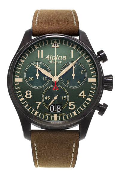 ALPINA Startimer Pilot Green Dial Watch AL-372GR4FBS6 - Ogden Of Harrogate