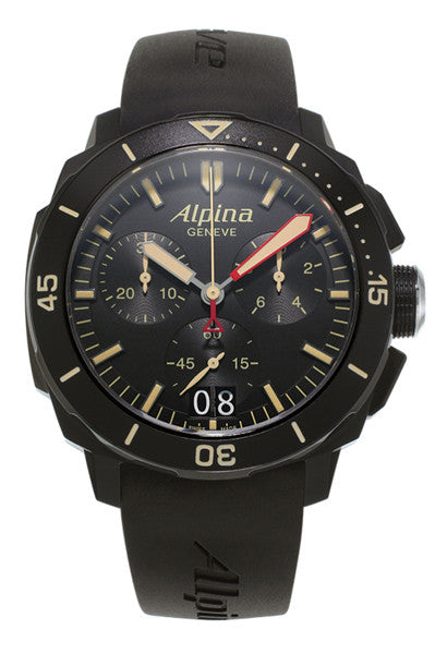 ALPINA Seastrong Diver 300M 44mm Big Date Quartz Chrono Black Case Watch AL-372LBBG4FBV6 - Ogden Of Harrogate - 1