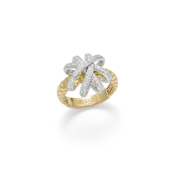 FOPE 18ct Gold with White Gold and Diamonds Ring AN668 PAVE