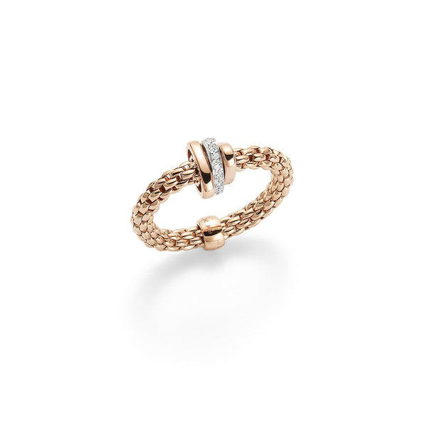 FOPE 18ct Rose Gold Flex'it Ring with Rose Gold and Diamond Rondels AN744 BBR