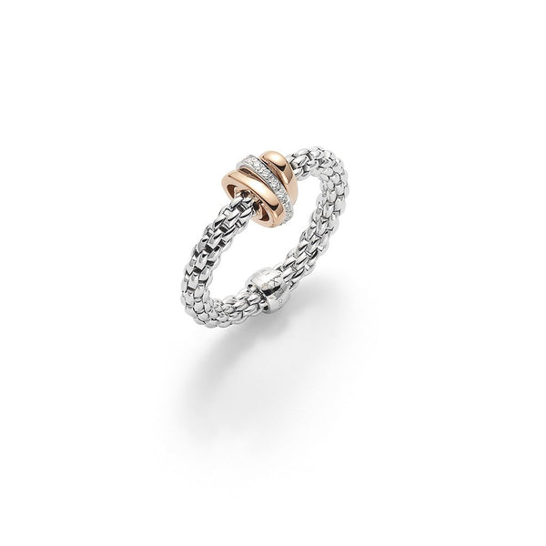 FOPE 18ct White Gold Flex'it Ring with Rose Gold and Diamond Rondels AN744 BBR