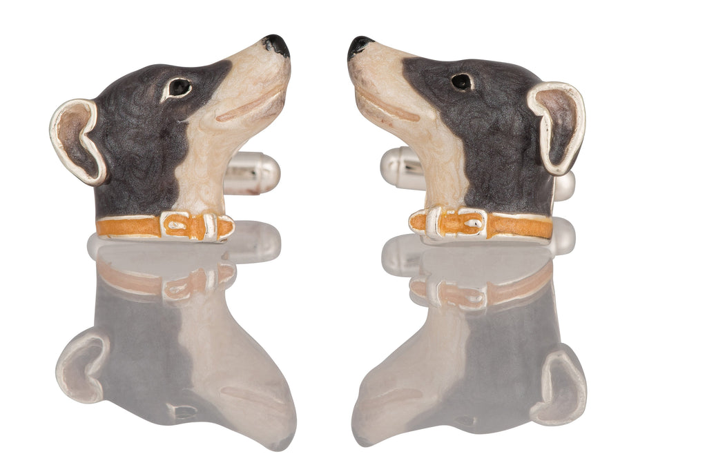 A pair of silver and enamel whippet head cufflinks with swivel bar connectors