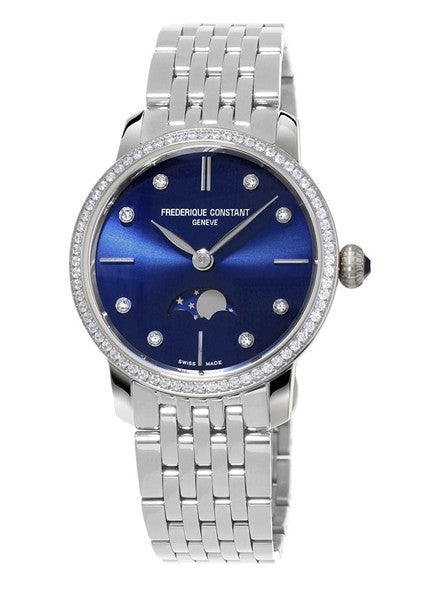 Frederique Constant Slimline Moonphase Diamond Set 30mm Qtz Ladies Watch FC 206ND1SD26B - Ogden Of Harrogate