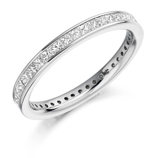 1.00ct Channel Set Princess Cut Diamond Full Eternity Ring