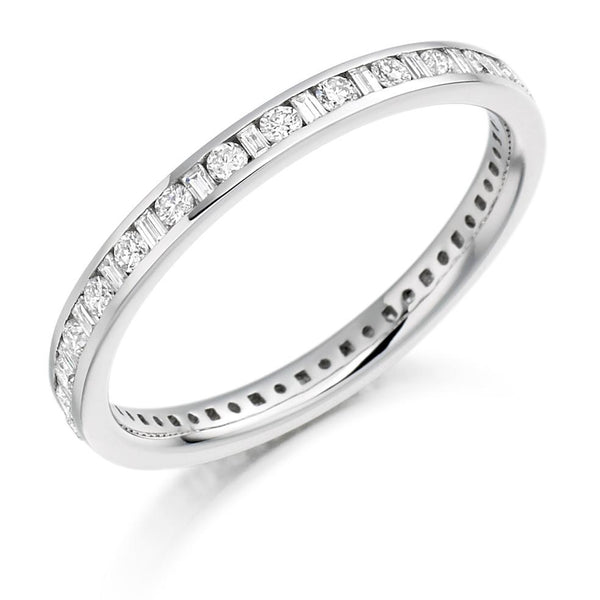 0.50ct Channel Set Round Brilliant and Baguette Cut Diamond Full Eternity Ring