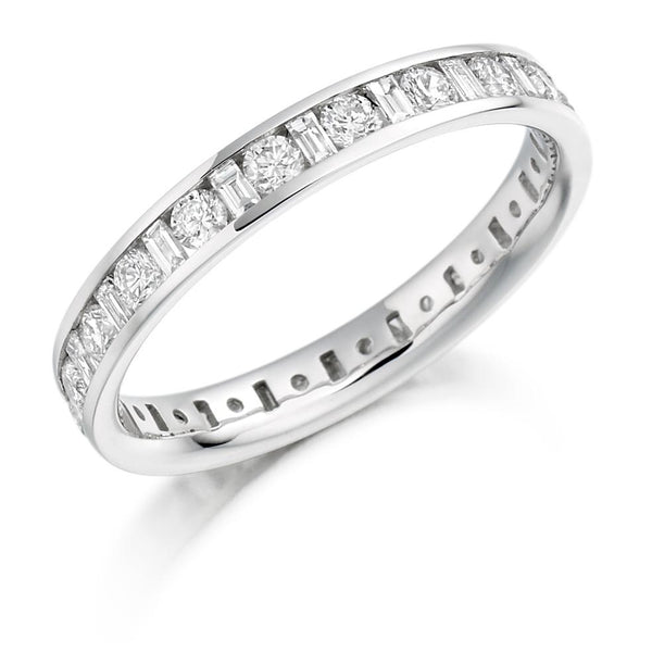 1.00ct Channel Set Round Brilliant and Baguette Cut Diamond Full Eternity Ring