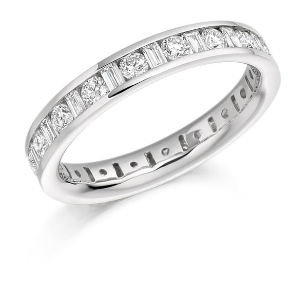 1.50ct Channel Set Round Brilliant and Baguette Cut Diamond Full Eternity Ring
