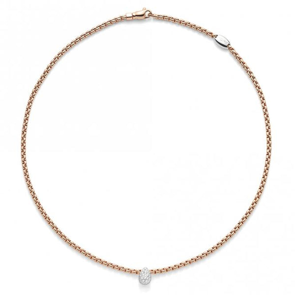 FOPE 18ct Rose Gold Flex'it Necklace with an 18ct White Gold and Diamond Drop Pendant 735C PAVE