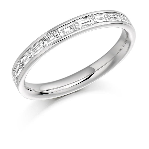 0.50ct Channel Set Horizontal Baguette Cut Diamond Half Eternity Ring