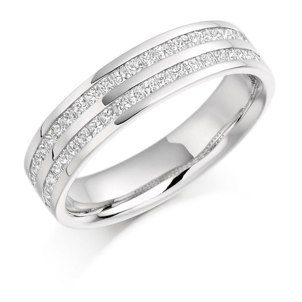 0.75ct Double Channel Set Diamond Half Eternity Ring