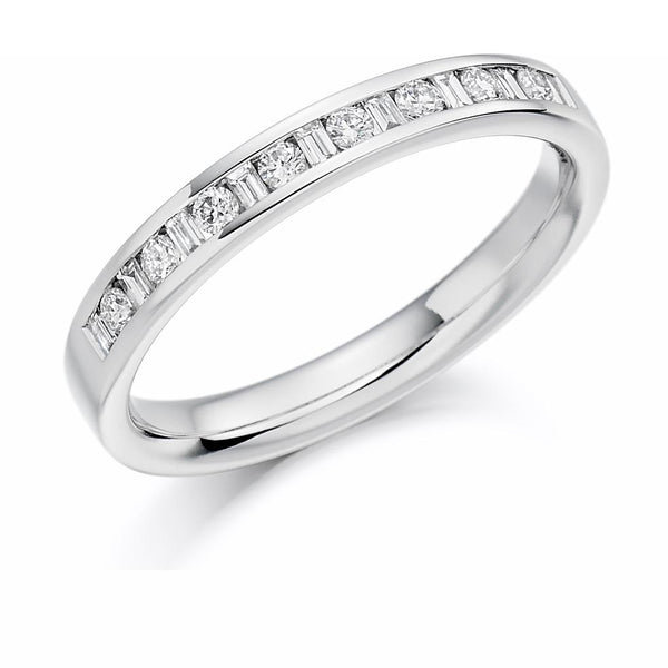 0.25ct Channel Set Round Brilliant and Baguette Cut Diamond Half Eternity Ring