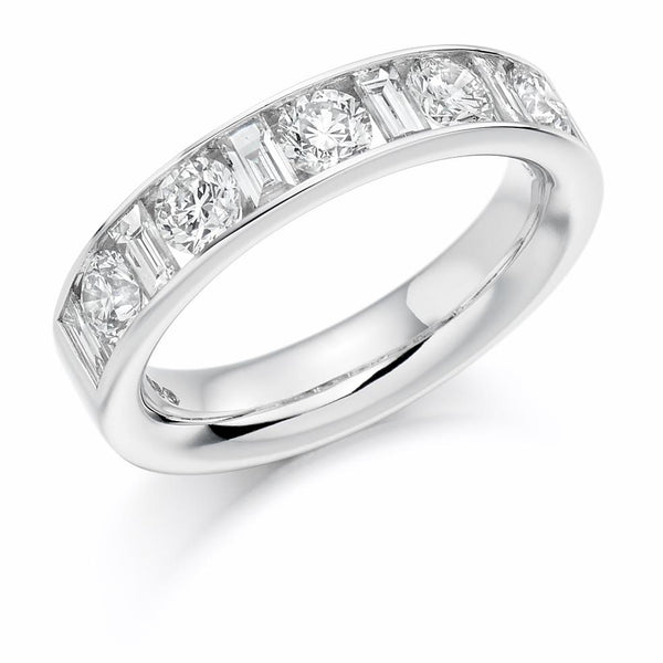 1.50ct Channel Set Round Brilliant and Baguette Cut Diamond Half Eternity Ring