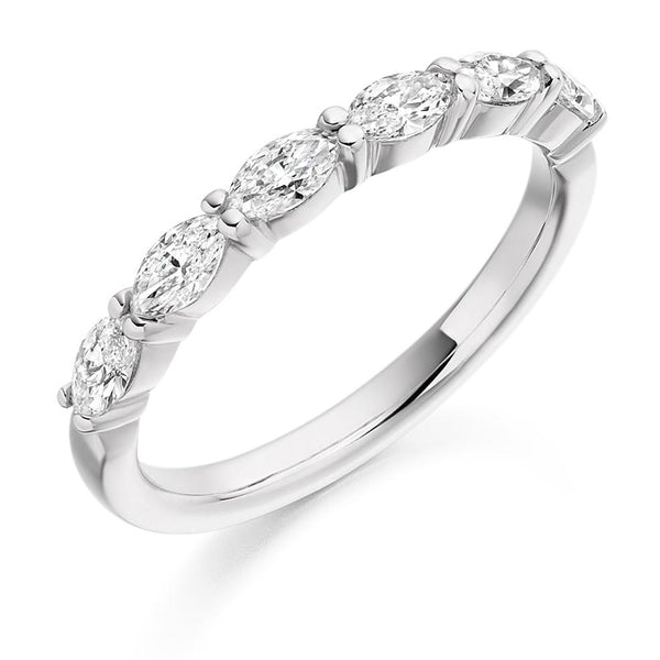 0.65ct Micro-Claw Set Marquise Cut Diamond Half Eternity Ring