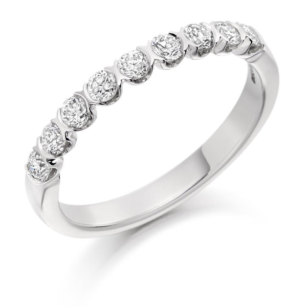 0.50ct Curved Bar Set Diamond Half Eternity Ring