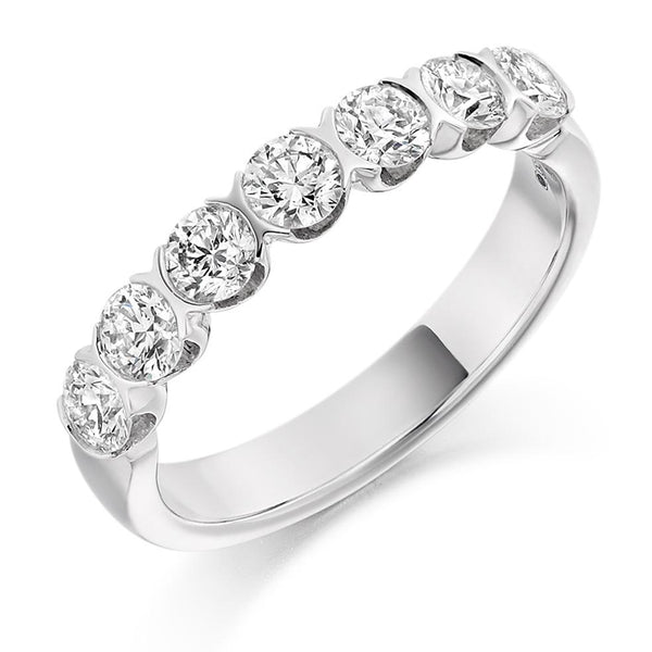 1.00ct Curved Bar Set Diamond Half Eternity Ring