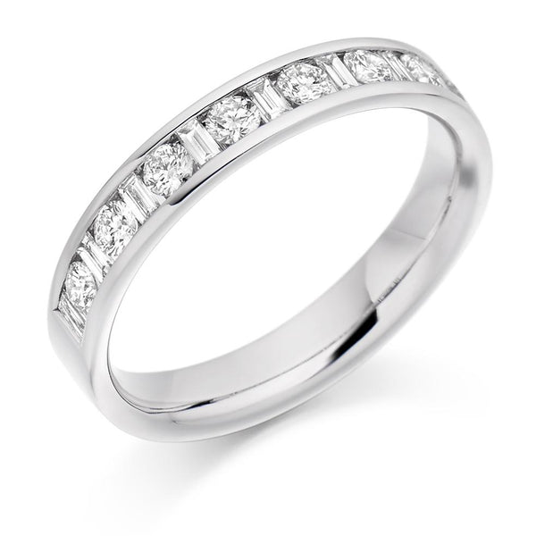 0.50ct Channel Set Round Brilliant and Baguette Cut Diamond Half Eternity Ring