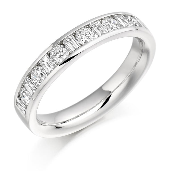 0.75ct Channel Set Round Brilliant and Baguette Cut Diamond Half Eternity Ring