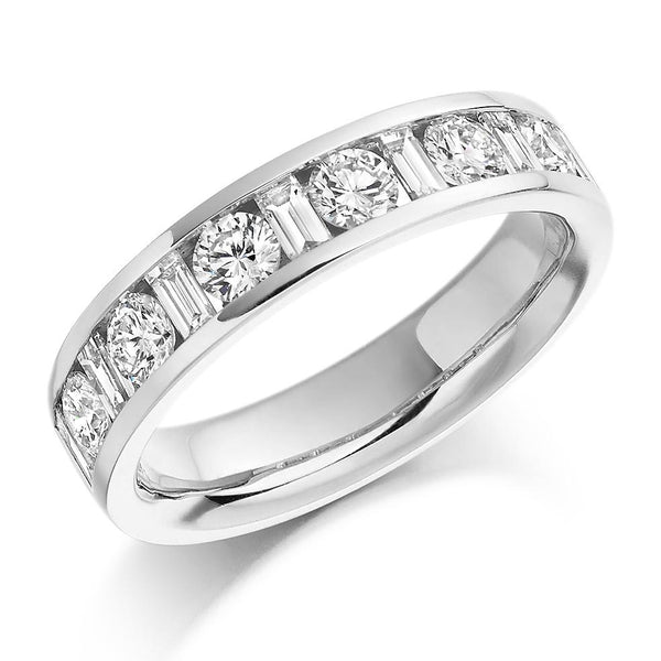 1.00ct Channel Set Round Brilliant and Baguette Cut Diamond Half Eternity Ring