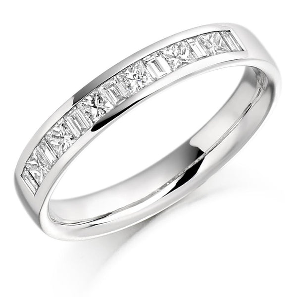 0.50ct Channel Set Princess and Baguette Cut Diamond Half Eternity Ring