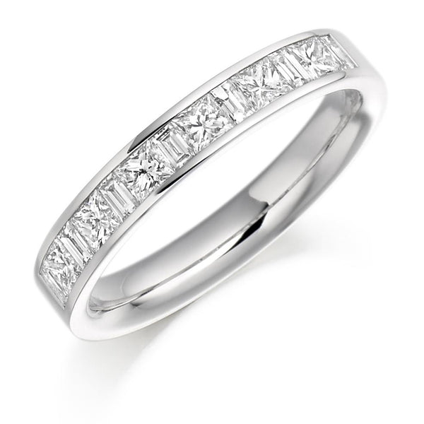 0.75ct Channel Set Princess and Baguette Cut Diamond Half Eternity Ring