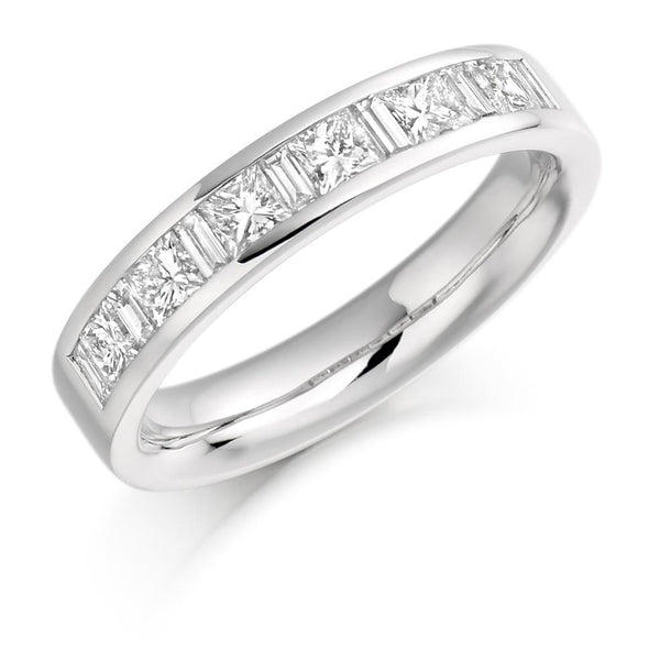 1.00ct Channel Set Princess and Baguette Cut Diamond Half Eternity Ring