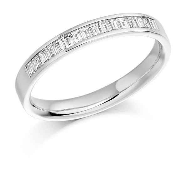 0.33ct Channel Set Baguette Cut Diamond Half Eternity Ring
