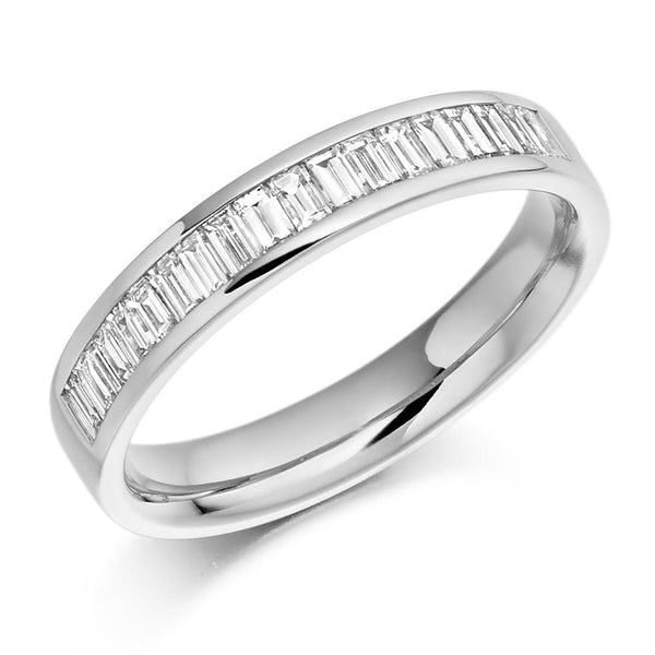 0.50ct Channel Set Baguette Cut Diamond Half Eternity Ring