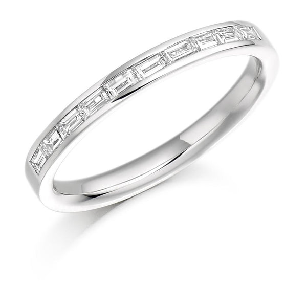 0.30ct Channel Set Horizontal Baguette Cut Diamond Half Eternity Ring