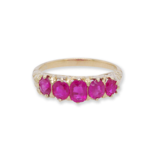 Victorian 5 Stone Ruby Ring