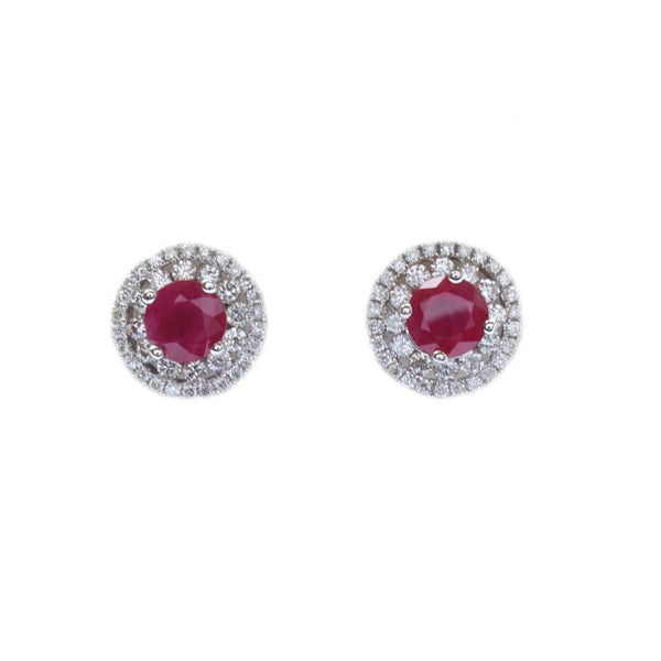 A pair of 18ct white gold, ruby and diamond row cluster earrings 1.66cts