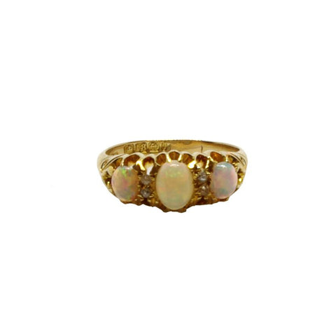 An 18ct Gold, Diamond and Opal Ornate Ring
