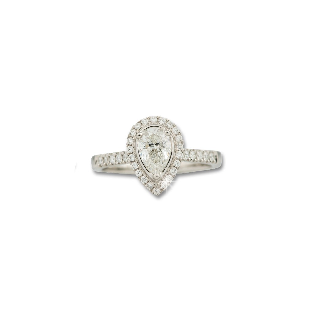 A Platinum, Pear Shaped and Brilliant Cut Diamond Cluster Ring