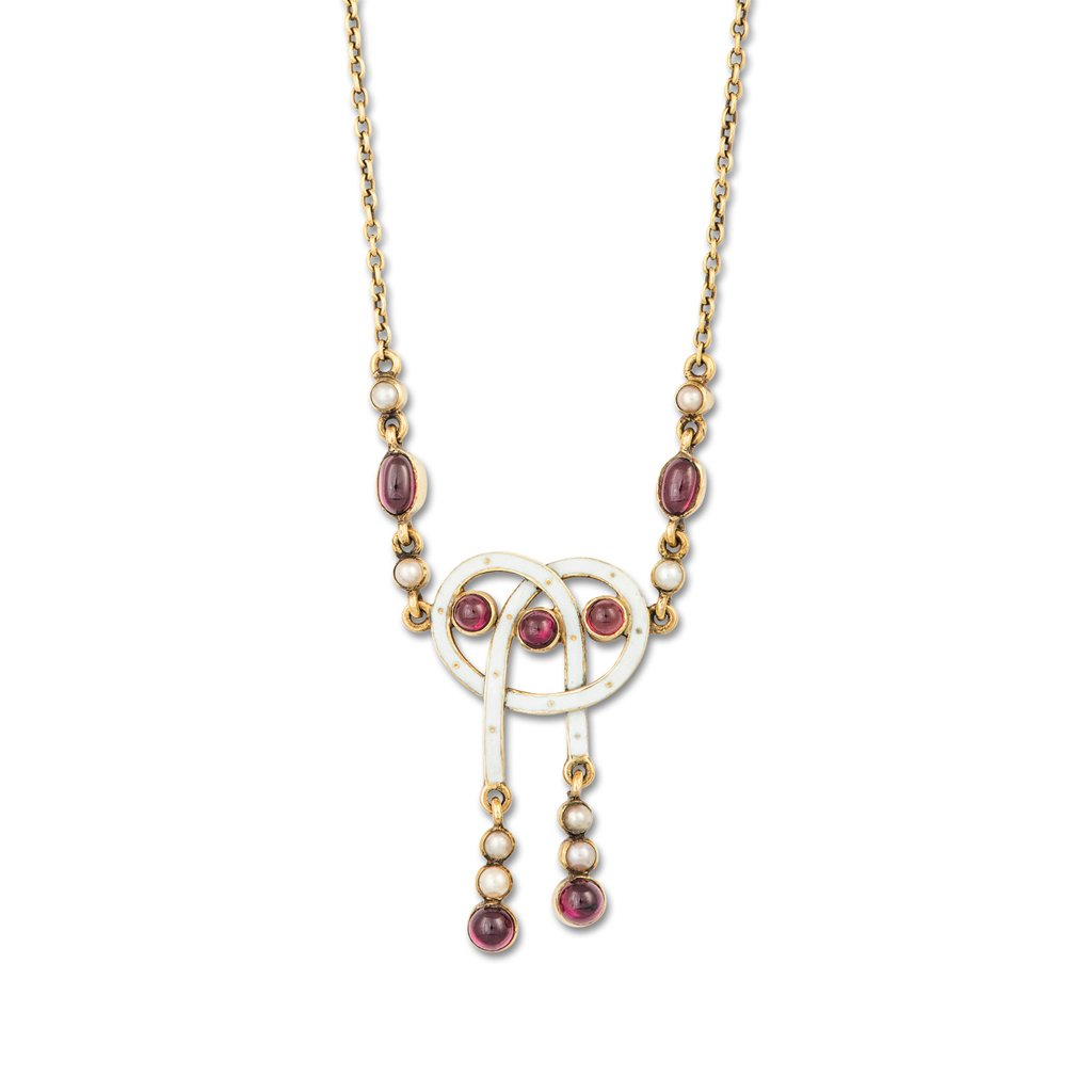 A Cabochon Garnet, Pearl and Enamel Necklace