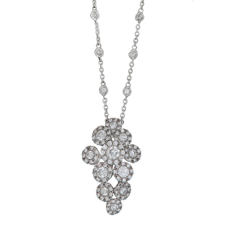 A Favero 18ct white gold and diamond cascade cluster pendant on a fixed chain