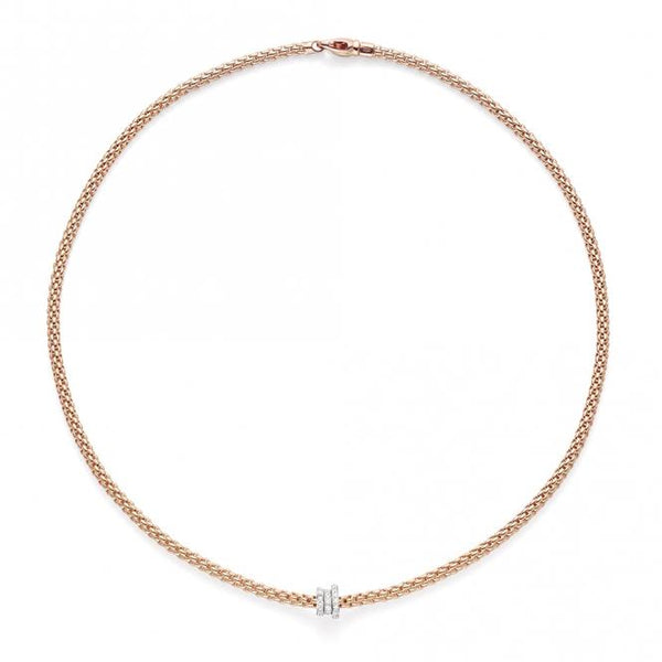 FOPE 18ct Rose Gold Flex'it Necklace with White Gold and Diamond Rondels 744C PAVE