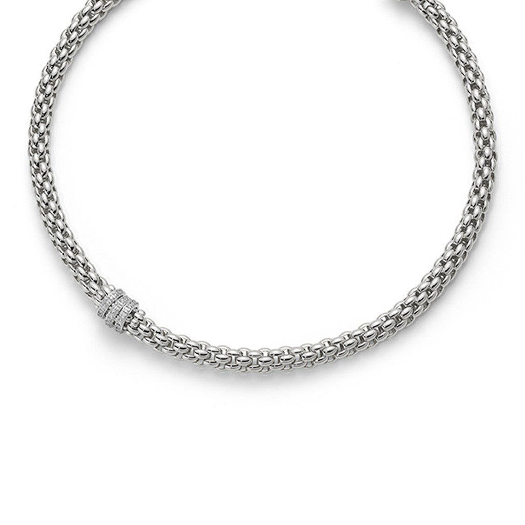 FOPE 18ct White Gold Flex'it Niue Necklace with Diamond Hoops 418C