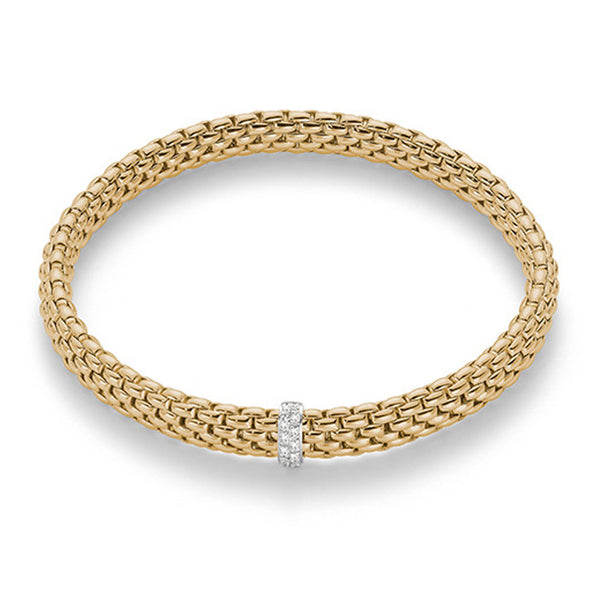 FOPE 18ct Yellow Gold Flex'it Bracelet with Diamond Set Hoop 560B