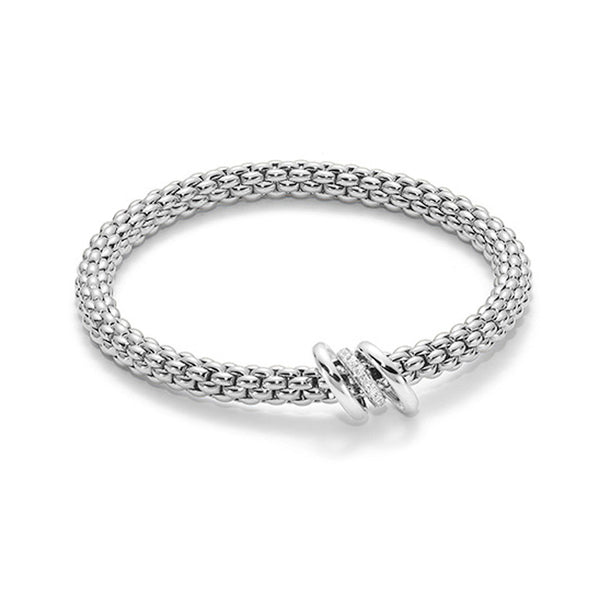 FOPE Flex'it 18ct White Gold Diamond Set Bracelet 652B BBRM