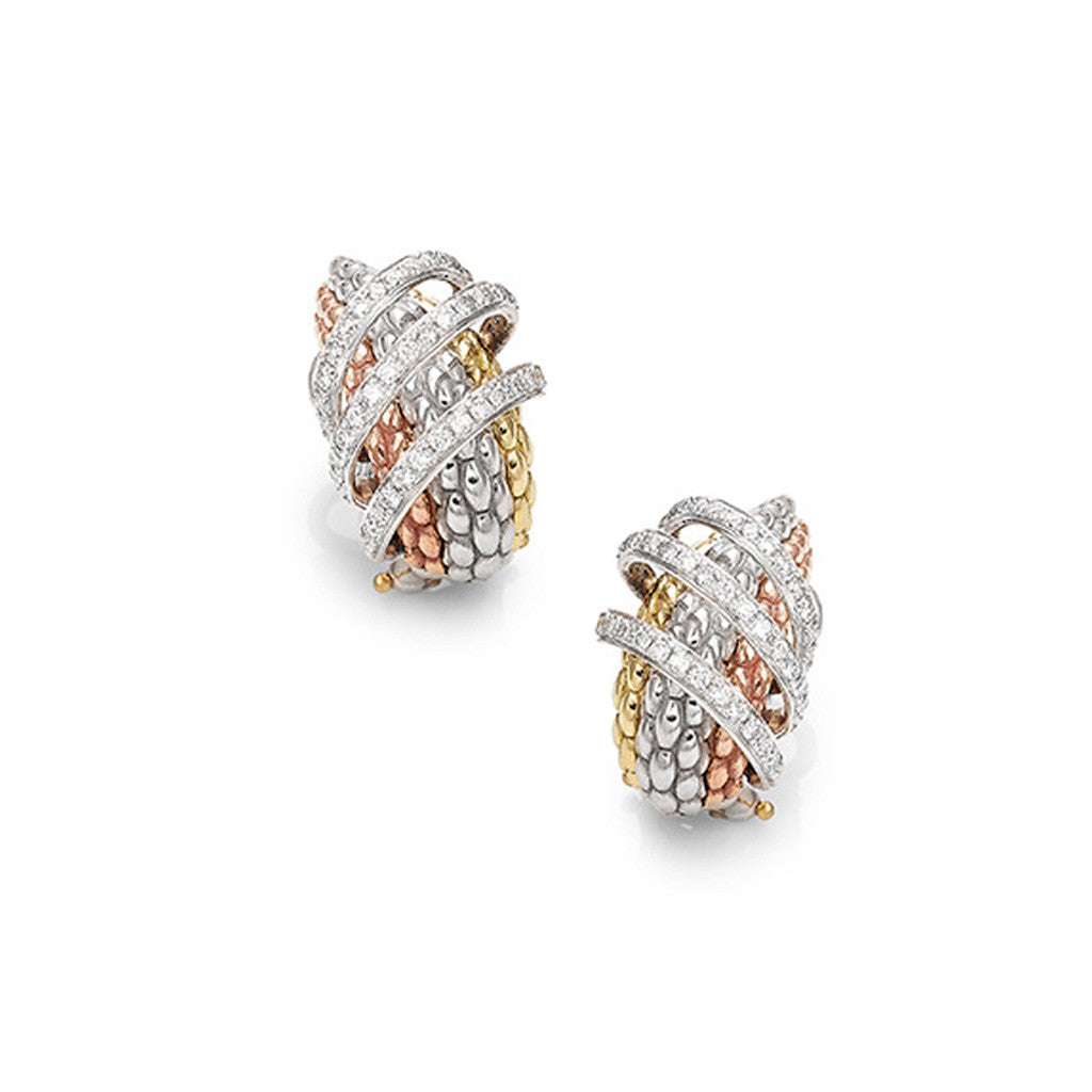 FOPE Flex'it Solo MiaLuce Textured Diamond Hoop Earrings OR651