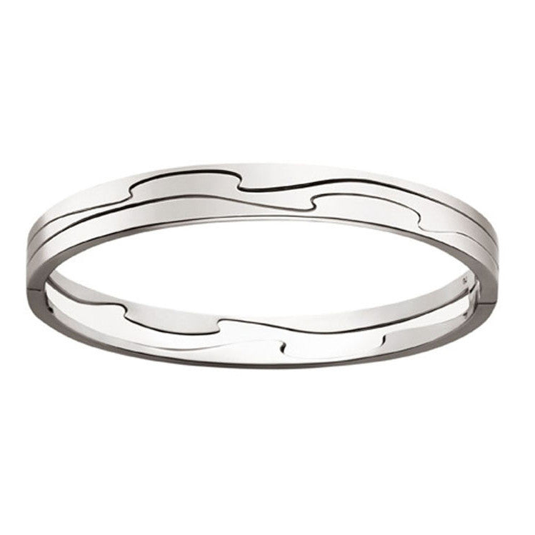 Georg Jensen 18ct white gold Fusion bangle S/M 3510449 -
