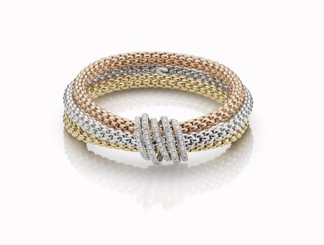 FOPE 18ct Rose, Yellow and White Gold with Diamonds 'Mialuce' Bracelet