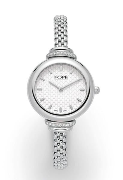 FOPE LadyFope 18ct white gold, diamond lugs and white dial watch LF004