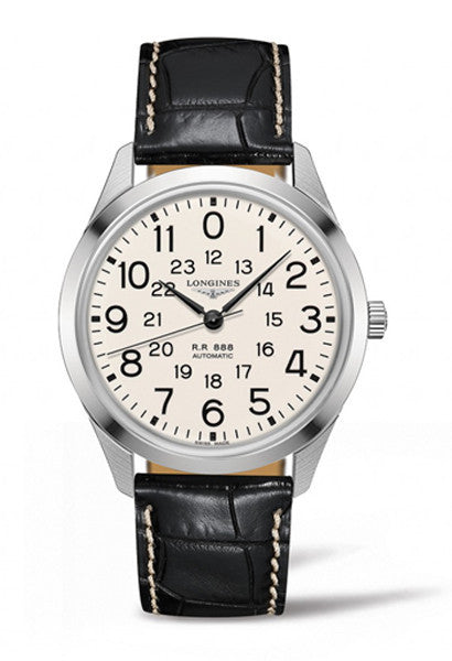 Longines Cream Dial and Black Strap Watch L28034230
