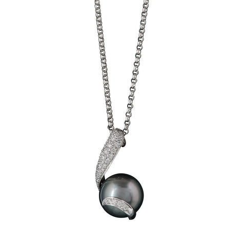 A Mikimoto 18ct white gold and dark grey pearl pendant