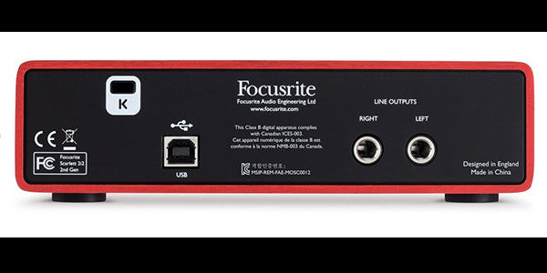Focusrite Scarlett Back Panel