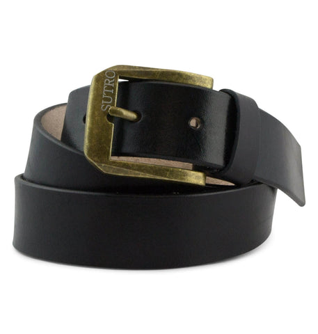 Fully adjustable leather beltFeatures: Full grain, vegetable tanned leatherHandcutBrass belt buckle with Sutro laser engravingRemovable screw on the inside of the belt can be unscrewed and cut-to-size to adjust waist lengthSizing: Waist lengths 28-34 (34)Waist lengths 34-38 (38)